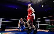 23 February 2019; Dean Gardiner, right, after knocking down Martin Keenan during their 91+kg bout at the 2019 National Elite Men's & Women's Boxing Championships Finals at the National Stadium in Dublin. Photo by Sam Barnes/Sportsfile