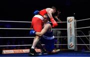 23 February 2019; Dean Gardiner, left, knocks down Martin Keenan during their 91+kg bout at the 2019 National Elite Men's & Women's Boxing Championships Finals at the National Stadium in Dublin. Photo by Sam Barnes/Sportsfile