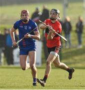 23 February 2019; Mark Coleman of University College Cork in action against Colin O'Brien of Mary Immaculate College during the Electric Ireland HE GAA Fitzgibbon Cup Final match between Mary Immaculate College and University College Cork at Waterford IT in Waterford. Photo by Matt Browne/Sportsfile