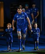 22 February 2019; Leinster captain Ross Molony with matchday mascots 5 year old Sorcha Hartnett, from Rathmines, Dublin, and 8 year old Sam Nolan, from Tinahely, Co. Wicklow, ahead of the Guinness PRO14 Round 16 match between Leinster and Southern Kings at the RDS Arena in Dublin. Photo by Ramsey Cardy/Sportsfile