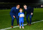22 February 2019; Matchday mascot 5 year old Sorcha Hartnett, from Rathmines, Dublin, with Leinster players Joe Tomane and Nick McCarthy at the Guinness PRO14 Round 16 match between Leinster and Southern Kings at the RDS Arena in Dublin. Photo by Ramsey Cardy/Sportsfile