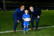 22 February 2019; Matchday mascot 8 year old Sam Nolan, from Tinahely, Co. Wicklow, with Leinster players Joe Tomane and Nick McCarthy at the Guinness PRO14 Round 16 match between Leinster and Southern Kings at the RDS Arena in Dublin. Photo by Ramsey Cardy/Sportsfile