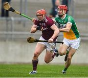 24 February 2019; Conor Whelan of Galway in action against Niall Houlihan of Offaly during the Allianz Hurling League Division 1B Round 4 match between Offaly and Galway at Bord Na Mona O'Connor Park in Tullamore, Offaly. Photo by Matt Browne/Sportsfile