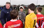 24 February 2019; John Earley, SFAI Chairperson and FAI Board Member, introduces Liam Miller's mother Bridie and daughter Bella, aged 9, to the teams ahead of the SFAI SUBWAY Liam Miller Cup Championship Final match between Mayo and Cavan/Monaghan at Mullingar Athletic FC in Gainestown, Mullingar, Co. Westmeath. Photo by Sam Barnes/Sportsfile
