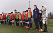 24 February 2019; John Earley, SFAI Chairperson and FAI Board Member, stands for national anthems with Liam Miller's mother Bridie, right, and daughter Bella, aged 9, ahead of the SFAI SUBWAY Liam Miller Cup Championship Final match between Mayo and Cavan/Monaghan at Mullingar Athletic FC in Gainestown, Mullingar, Co. Westmeath. Photo by Sam Barnes/Sportsfile