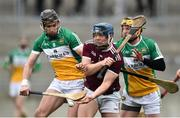 24 February 2019; Sean Kilduff of Galway in action against Aidan Treacy and Kevin Dunne of Offaly during the Allianz Hurling League Division 1B Round 4 match between Offaly and Galway at Bord Na Mona O'Connor Park in Tullamore, Offaly. Photo by Matt Browne/Sportsfile