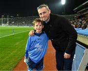 23 February 2019; Jamie Brogan, Castleknock GAA, with his dad the former Dublin footballer Alan Brogan, after Jamie had played in the half time games during the Allianz Football League Division 1 Round 4 match between Dublin and Mayo at Croke Park in Dublin. Photo by Ray McManus/Sportsfile