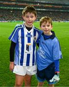 23 February 2019; Jude Gavin, left, a son of Dublin manager Jim, Ballyboden St Endas, and Jamie Brogan, son of former Dublin footballer Alan Brogan, Castleknock GAA, after they had played in the half time games during the Allianz Football League Division 1 Round 4 match between Dublin and Mayo at Croke Park in Dublin. Photo by Ray McManus/Sportsfile