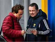 24 February 2019; Wexford manager Davy Fitzgerald, right, with RTE's Marty Morrissey ahead of the Allianz Hurling League Division 1A Round 4 match between Clare and Wexford at Cusack Park in Ennis, Clare. Photo by Eóin Noonan/Sportsfile