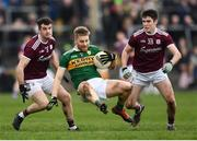 24 February 2019; Peter Crowley of Kerry in action against Johnny Duane, left, and Barry McHugh of Galway during the Allianz Football League Division 1 Round 4 match between Galway and Kerry at Tuam Stadium in Tuam, Galway.  Photo by Stephen McCarthy/Sportsfile