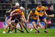 24 February 2019; Lee Chin of Wexford in action against Patrick O'Connor, left, and Jack Browne of Clare during the Allianz Hurling League Division 1A Round 4 match between Clare and Wexford at Cusack Park in Ennis, Clare. Photo by Eóin Noonan/Sportsfile
