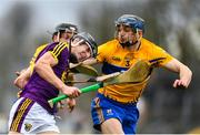 24 February 2019; Liam Og McGovern of Wexford in action against Jack Browne of Clare during the Allianz Hurling League Division 1A Round 4 match between Clare and Wexford at Cusack Park in Ennis, Clare. Photo by Eóin Noonan/Sportsfile