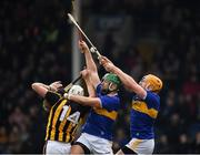 24 February 2019; Liam Blanchfield of Kilkenny in action against James Barry and Padraic Maher, right, of Tipperary  during the Allianz Hurling League Division 1A Round 4 match between Tipperary and Kilkenny at Semple Stadium in Thurles, Co Tipperary. Photo by Ray McManus/Sportsfile