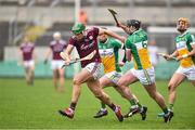 24 February 2019; Niall Burke of Galway in action against Pat Camon and Kevin Dunne of Offaly during the Allianz Hurling League Division 1B Round 4 match between Offaly and Galway at Bord Na Mona O'Connor Park in Tullamore, Offaly. Photo by Matt Browne/Sportsfile