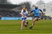24 February 2019; Thomas Ryan of Waterford scores his side's second goal, despite the challenge of Darragh O'Connell of Dublin during the Allianz Hurling League Division 1B Round 4 match between Dublin and Waterford at Parnell Park in Donnycarney, Dublin. Photo by Daire Brennan/Sportsfile