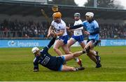 24 February 2019; Thomas Ryan of Waterford scores his side's second goal, despite the challenge of Alan Nolan, left, and Darragh O'Connell of Dublin during the Allianz Hurling League Division 1B Round 4 match between Dublin and Waterford at Parnell Park in Donnycarney, Dublin. Photo by Daire Brennan/Sportsfile