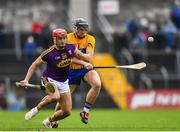 24 February 2019; Lee Chin of Wexford in action against Shane Golden of Clare during the Allianz Hurling League Division 1A Round 4 match between Clare and Wexford at Cusack Park in Ennis, Clare. Photo by Eóin Noonan/Sportsfile