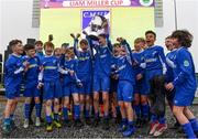24 February 2019; The Cavan/ Monaghan team are presented with the Liam Miller Trophy by Liam Miller's mother Bridie and daughter Bella, aged 9, following the SFAI SUBWAY Liam Miller Cup Championship Final match between Mayo and Cavan/ Monaghan at Mullingar Athletic FC in Gainestown, Mullingar, Co. Westmeath. Photo by Sam Barnes/Sportsfile
