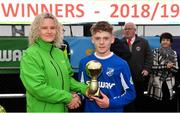 24 February 2019; Luke Allison of Cavan/ Monaghan is presented with the Player of the Match trophy by Francis Adgey, Marketing Manager, Subway, following the SFAI SUBWAY Liam Miller Cup Championship Final match between Mayo and Cavan/ Monaghan at Mullingar Athletic FC in Gainestown, Mullingar, Co. Westmeath. Photo by Sam Barnes/Sportsfile
