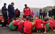 24 February 2019; Mayo manager Declan Leonard addresses his players following the SFAI SUBWAY Liam Miller Cup Championship Final match between Mayo and Cavan/ Monaghan at Mullingar Athletic FC in Gainestown, Mullingar, Co. Westmeath. Photo by Sam Barnes/Sportsfile