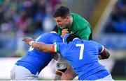24 February 2019; Jonathan Sexton of Ireland is tackled by Luca Morisi, left, and Maxime Mbanda of Italy during the Guinness Six Nations Rugby Championship match between Italy and Ireland at the Stadio Olimpico in Rome, Italy. Photo by Ramsey Cardy/Sportsfile