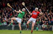 24 February 2019; Patrick Horgan of Cork claims the ball ahead of Tom Condon of Limerick on his way to scoring his side's first goal during the Allianz Hurling League Division 1A Round 4 match between Limerick and Cork at the Gaelic Grounds in Limerick. Photo by David Fitzgerald/Sportsfile