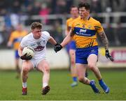 24 February 2019; Jimmy Hyland of Kildare in action against Aaron Fitzgerald of Clare during the Allianz Football League Division 2 Round 4 match between Kildare and Clare at St Conleth's Park in Newbridge, Co Kildare. Photo by Piaras Ó Mídheach/Sportsfile