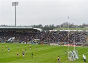 24 February 2019; A view of the stadium as Conor Cox of Roscommon kicks a point during the Allianz Football League Division 1 Round 4 match between Cavan and Roscommon at the Kingspan Breffni Park in Cavan. Photo by Seb Daly/Sportsfile