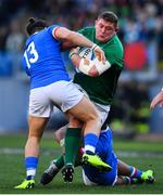 24 February 2019; Tadhg Furlong of Ireland is tackled by Michele Campagnaro, left, and Braam Steyn of Italy during the Guinness Six Nations Rugby Championship match between Italy and Ireland at the Stadio Olimpico in Rome, Italy. Photo by Ramsey Cardy/Sportsfile