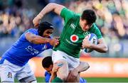 24 February 2019; Jacob Stockdale of Ireland is tackled by Maxime Mbanda, left, and Luca Morisi of Italy during the Guinness Six Nations Rugby Championship match between Italy and Ireland at the Stadio Olimpico in Rome, Italy. Photo by Ramsey Cardy/Sportsfile