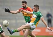 24 February 2019; Anton Sullivan of Offaly in action against Daniel St Ledger of Carlow during the Allianz Football League Division 3 Round 4 match between Offaly and Carlow at Bord Na Mona O'Connor Park in Tullamore, Offaly. Photo by Matt Browne/Sportsfile