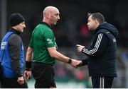24 February 2019; Wexford manager Davy Fitzgerald protests to referee John Keenan following the Allianz Hurling League Division 1A Round 4 match between Clare and Wexford at Cusack Park in Ennis, Clare. Photo by Eóin Noonan/Sportsfile