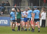 24 February 2019; Referee Fergal Horgan shows Darragh O'Connell of Dublin a red card near the end of the Allianz Hurling League Division 1B Round 4 match between Dublin and Waterford at Parnell Park in Donnycarney, Dublin. Photo by Daire Brennan/Sportsfile