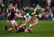 24 February 2019; Sean O'Shea of Kerry in action against Finnian Ó Laoí, left, and Ciaran Duggan of Galway during the Allianz Football League Division 1 Round 4 match between Galway and Kerry at Tuam Stadium in Tuam, Galway.  Photo by Stephen McCarthy/Sportsfile