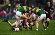 24 February 2019; Ciaran Duggan of Galway in action against Sean O'Shea, left, and Tom O'Sullivan of Kerry during the Allianz Football League Division 1 Round 4 match between Galway and Kerry at Tuam Stadium in Tuam, Galway.  Photo by Stephen McCarthy/Sportsfile