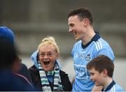 24 February 2019; Liam Rushe of Dublin gets his photo taken with supporter Therese O'Malley, from Drumcondra, Co Dublin, after the Allianz Hurling League Division 1B Round 4 match between Dublin and Waterford at Parnell Park in Donnycarney, Dublin. Photo by Daire Brennan/Sportsfile