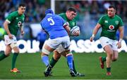 24 February 2019; Tadhg Furlong of Ireland is tackled by Dean Budd of Italy during the Guinness Six Nations Rugby Championship match between Italy and Ireland at the Stadio Olimpico in Rome, Italy. Photo by Ramsey Cardy/Sportsfile