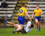 24 February 2019; Raymond Galligan of Cavan in action against Shane Kiloran of Roscommon during the Allianz Football League Division 1 Round 4 match between Cavan and Roscommon at the Kingspan Breffni Park in Cavan. Photo by Seb Daly/Sportsfile