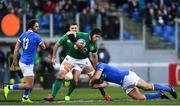 24 February 2019; Sean O'Brien of Ireland is tackled by Luca Morisi of Italy during the Guinness Six Nations Rugby Championship match between Italy and Ireland at the Stadio Olimpico in Rome, Italy. Photo by Ramsey Cardy/Sportsfile