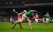 24 February 2019; Gearoid Hegarty of Limerick in action against Tim O'Mahony of Cork during the Allianz Hurling League Division 1A Round 4 match between Limerick and Cork at the Gaelic Grounds in Limerick. Photo by David Fitzgerald/Sportsfile