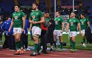 24 February 2019; Ireland players, from left, Jacob Stockdale, Iain Henderson, Bundee Aki, Jack Carty, John Cooney, and Quinn Roux leave the pitch after the Guinness Six Nations Rugby Championship match between Italy and Ireland at the Stadio Olimpico in Rome, Italy. Photo by Brendan Moran/Sportsfile