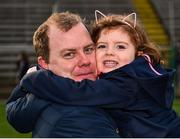 24 February 2019; Cavan manager Mickey Graham gets a hug from his daughter Lauren, age 4, following his side's victory during the Allianz Football League Division 1 Round 4 match between Cavan and Roscommon at the Kingspan Breffni Park in Cavan. Photo by Seb Daly/Sportsfile