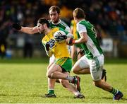 24 February 2019; Ryan McHugh of Donegal in action against Sean Quigley of Fermanagh during the Allianz Football League Division 2 Round 4 match between Donegal and Fermanagh at O'Donnell Park in Letterkenny, Co Donegal. Photo by Oliver McVeigh/Sportsfile