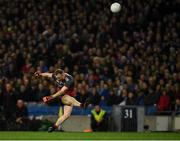 23 February 2019; Goalkeeper Rob Hennelly of Mayo kicks his side's first point, in the 15th minute, during the Allianz Football League Division 1 Round 4 match between Dublin and Mayo at Croke Park in Dublin. Photo by Ray McManus/Sportsfile
