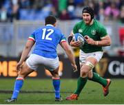 24 February 2019; Sean O'Brien of Ireland in action against Luca Morisi of Italy during the Guinness Six Nations Rugby Championship match between Italy and Ireland at the Stadio Olimpico in Rome, Italy. Photo by Brendan Moran/Sportsfile