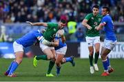 24 February 2019; Rob Kearney of Ireland is tackled by Leonardo Ghiraldini and Andrea Lovotti of Italy during the Guinness Six Nations Rugby Championship match between Italy and Ireland at the Stadio Olimpico in Rome, Italy. Photo by Brendan Moran/Sportsfile