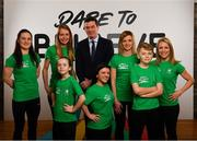 25 February 2019; Peter Sherrard, Chief Executive Officer, Olympic Federation of Ireland, centre, is pictured with, back row from left, Kellie Harrington, Irish World Champion Boxer, Claire Lambe, Irish Olympic Rower, Róisín McGettigan, Programme Developer, and Róisín Jones, Programme Developer, front from left, Tilly Byrne-McGettigan, age 10, Nicole Turner, Irish Paralympic Swimmer, and Lennon Byrne-McGettigan, age 12, from Wicklow, Co. Wicklow, at the launch of Dare to Believe, a school activation programme championed and supported by the Athletes' Commission. Olympism, Paralympism and the benefits of sport will be promoted in schools nationwide by some of Ireland's best known and most accomplished athletes in a fun and interactive manner. The initial pilot phase is targeting the fifth and sixth class students in primary schools. #DareToBelieve Photo by Seb Daly/Sportsfile