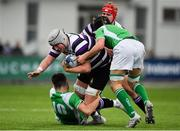 12 February 2019; Jack Townsend of Terenure College is tackled by Harry Colbert, left, and Tom Cullen of Gonzaga College during the Bank of Ireland Leinster Schools Senior Cup Round 2 match between Gonzaga College and Terenure College at Energia Park in Donnybrook, Dublin.  Photo by Brendan Moran/Sportsfile