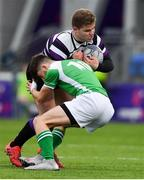 12 February 2019; Andi Ciobanu of Terenure College is tackled by Harry Colbert of Gonzaga College during the Bank of Ireland Leinster Schools Senior Cup Round 2 match between Gonzaga College and Terenure College at Energia Park in Donnybrook, Dublin.  Photo by Brendan Moran/Sportsfile