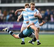25 February 2019; Niall Comerford of Blackrock College is tackled by Robert Gilsenan of St Michael's College during the Bank of Ireland Leinster Schools Senior Cup Round 2 match between Blackrock College and St Michael's College at Energia Park in Donnybrook, Dublin. Photo by David Fitzgerald/Sportsfile